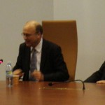 Ms. Margaret Nicholson, Executive Director of the Commission for Educational Exchange in Brussels; Judge Koen Lenaerts, President of the Chamber, European Court of Justice; and Mr. G. Valasidis, Legal Secretary, chambers of the President of the Court, European Court of Justice.