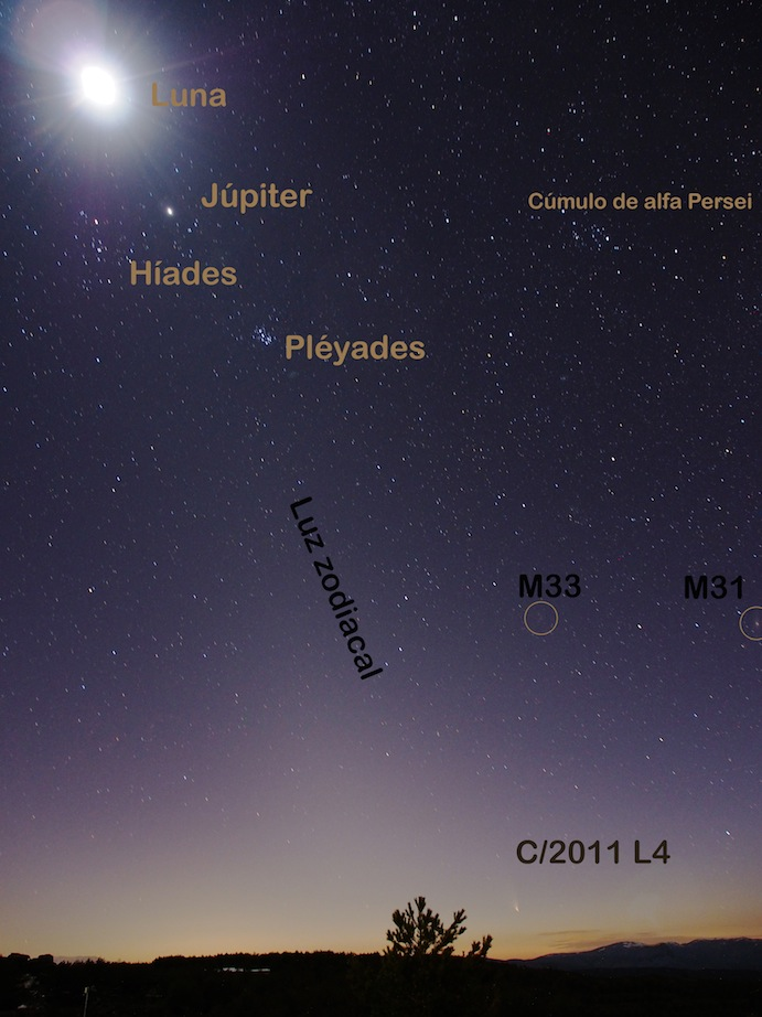 """The comet PanSTARRS from the Spanish German observatory at Calar Alto, Almería. Several astronomical objects can be seen. The comet is visible close to the horizon (C/2011 L4). The difuse  light (""""luz zodiacal"""") is a product of the dispersed dust in the Solar System and clearly show that Calar Alto is an excellent site to carry out astronomical observations (credit Gilles Bergond)"""